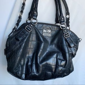 Coach Madison Satchel Black Embossed Bag